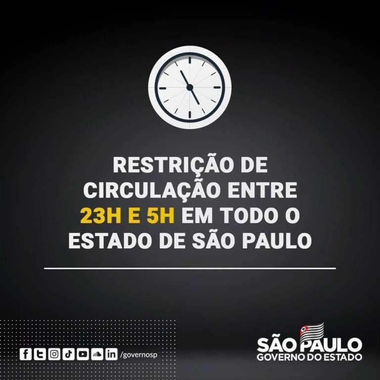 Governo de SP decreta restrição de circulação das 23h às 5h a partir desta sexta (26).